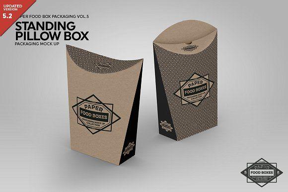 Standing Pillow Box Packaging Mockup Pillow Box Food Box Packaging Packaging Mockup