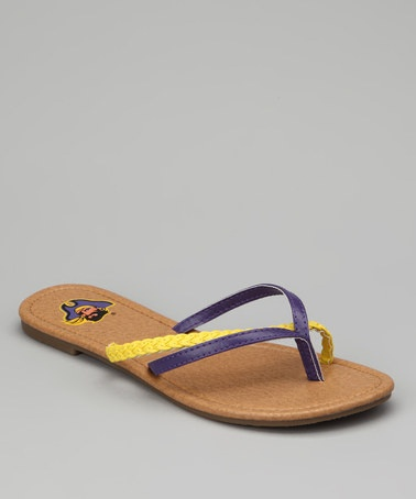 Take a look at this Purple & Gold East Carolina Pirates Crisscross Flip-Flop - Women on zulily today!