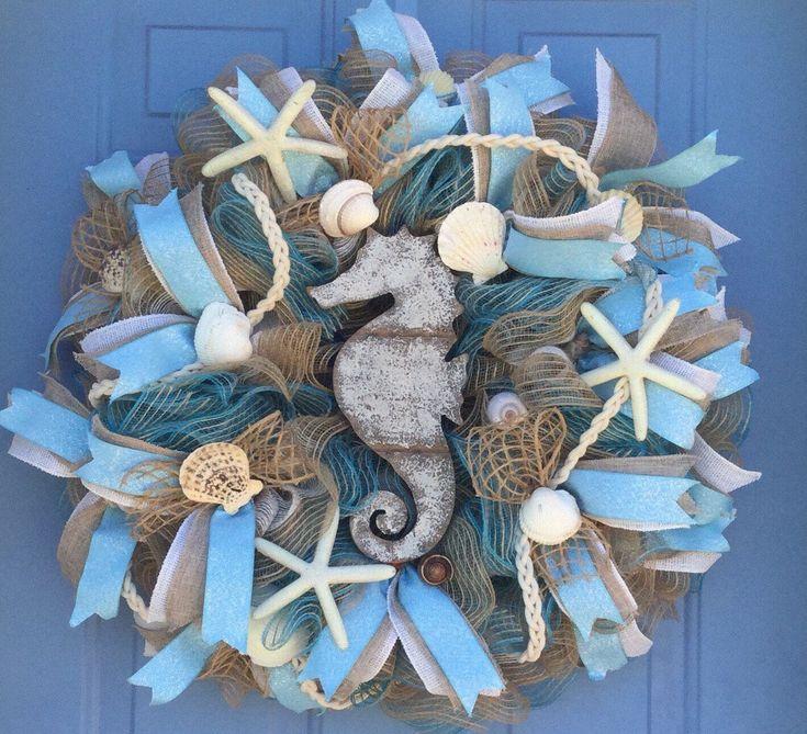 Excited to share the latest addition to my #etsy shop: Beach burlap wreath, beach front door wreath,Mesh beach wreath, summer wreath,All Occasion wreath,mesh wreath with shells, sea horse wreath #homedecor #housewarming #decomeshwreath #burlap beach wreath#beach wreath