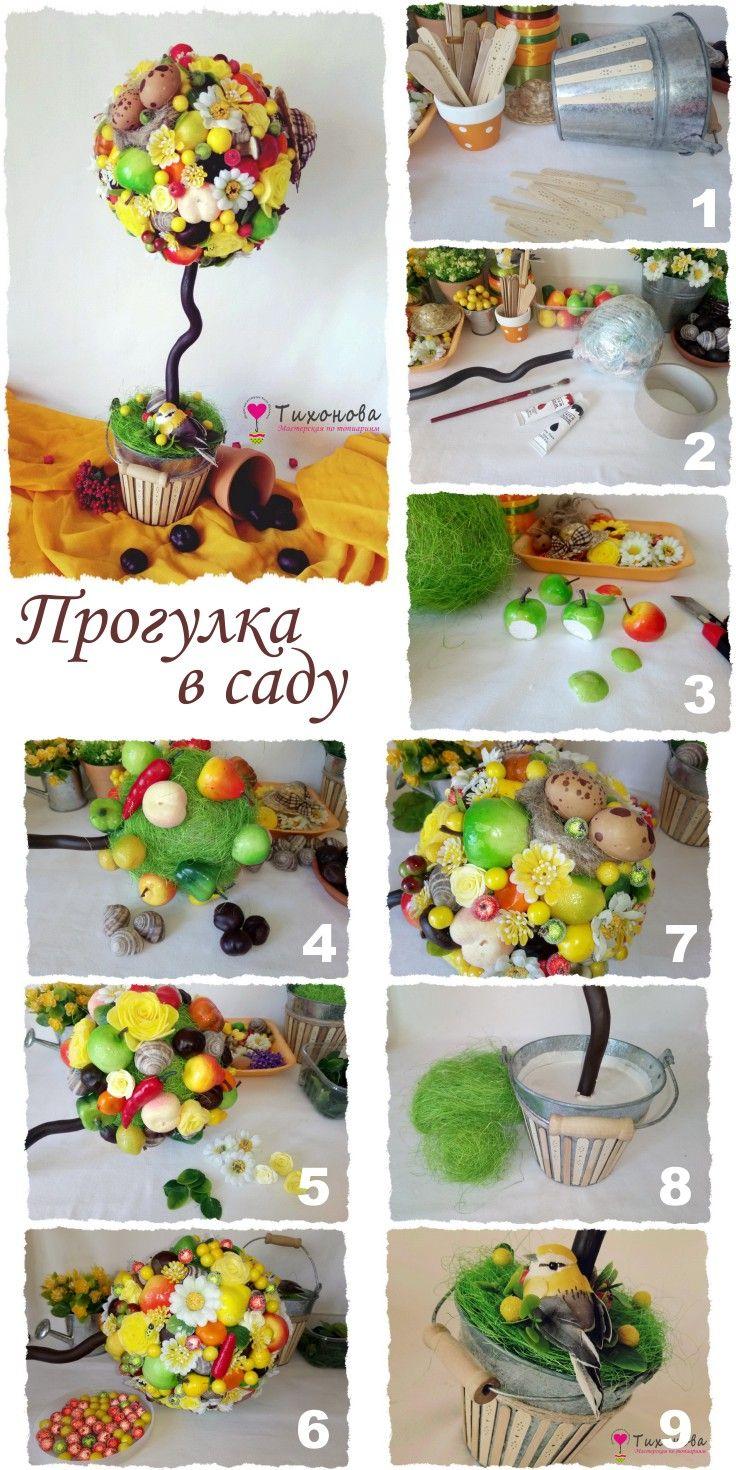 Топиарий с фруктами своими руками для начинающих фото 73