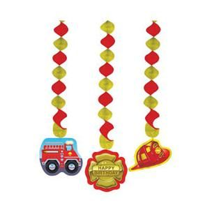 1101 - Firefighter Hanging Cutouts. Pack of 3 Firefighter Hanging Cutouts - Pack of 3