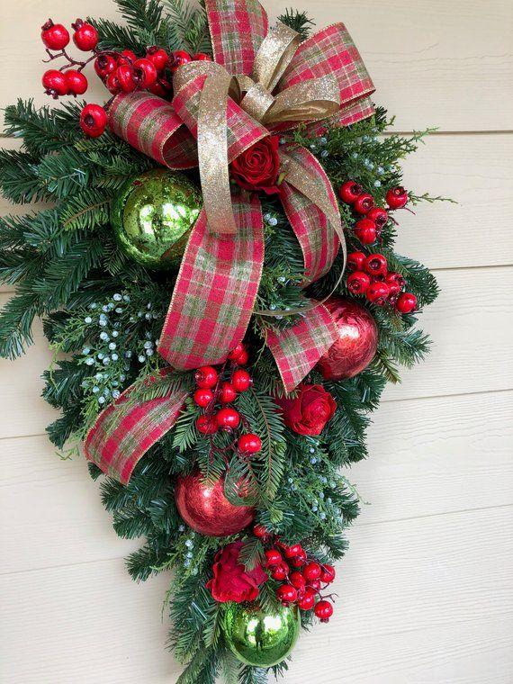 Christmas Wreath Front Door Wreath Christmas Swag Holiday
