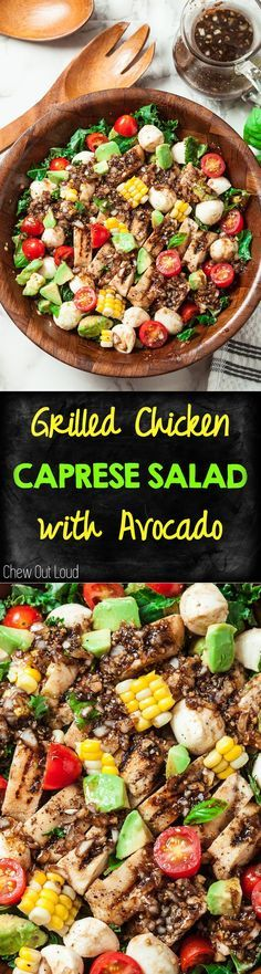 Grilled Chicken Caprese Salad with Avocado + the Best Honey Balsamic Dressing ever :) :) :) Fast, Easy, Delish! #chicken #caprese #salad #avocado  www.chewoutloud.com