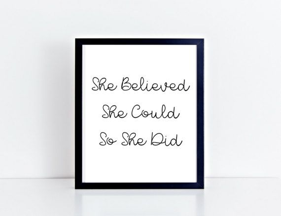 She Believed Wall Art  Love  Motivational Print  by KarooveCrafts