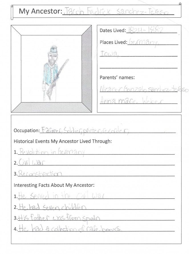 MY ANCESTOR NOTEBOOKING PAGE #kids #printable #genealogy