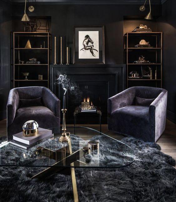 Black Art Deco Living Room Decor With Swivel Chairs Dark Living Rooms Gothic Living Rooms Moody Living Room