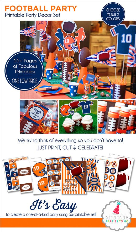 Football Party Decorations   Football Birthday Printable   Football Centerpiece   Sports Party   Football Tailgate   Amanda's Parties To Go