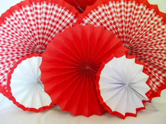 Gingham Decorations Birthday 6 Gingham Hanging Fans Baby Shower Pinwheels Birthday Decoration Picnic Backdrop Gingham Decoration Barbecue by PartyFetti on Etsy https://www.etsy.com/listing/535298049/gingham-decorations-birthday-6-gingham