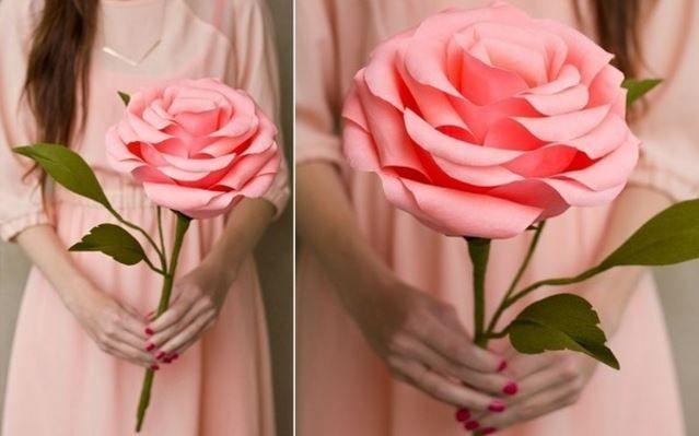 Hướng dẫn cách làm hoa hồng khổng lồ bằng giấy nhún