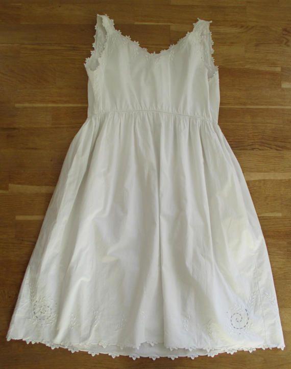 Chemise de nuit Vintage français coton blanc taille par 5LittleCups