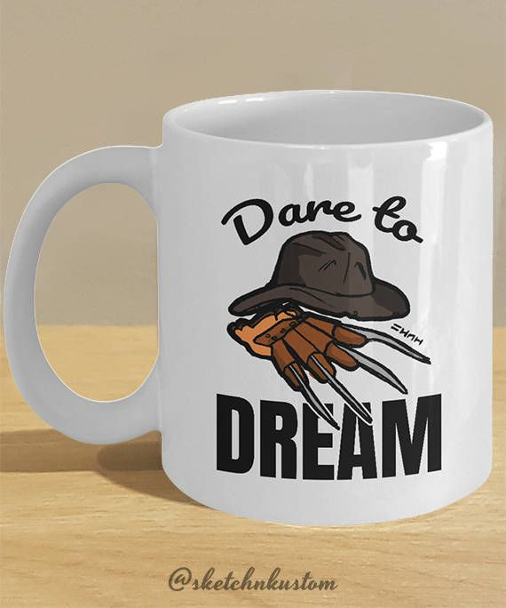 Freddy Krueger Costume Claw and Hat, Nightmare on Elm Street, Funny Halloween Themed Mug 'Dare to Dream' by sketchNkustom