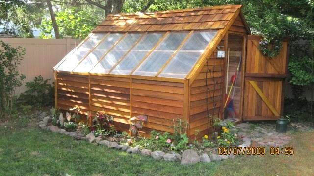 8 x 12 small cedar greenhouse shed kit by cedarshed visit for Small shed kits