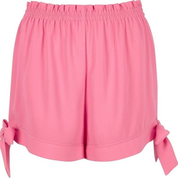 River Island Pink tie hem shorts ($50) ❤ liked on Polyvore featuring shorts, pink, smart shorts, women, stretch waist shorts, river island, elastic waistband shorts, pink shorts and elastic waist shorts