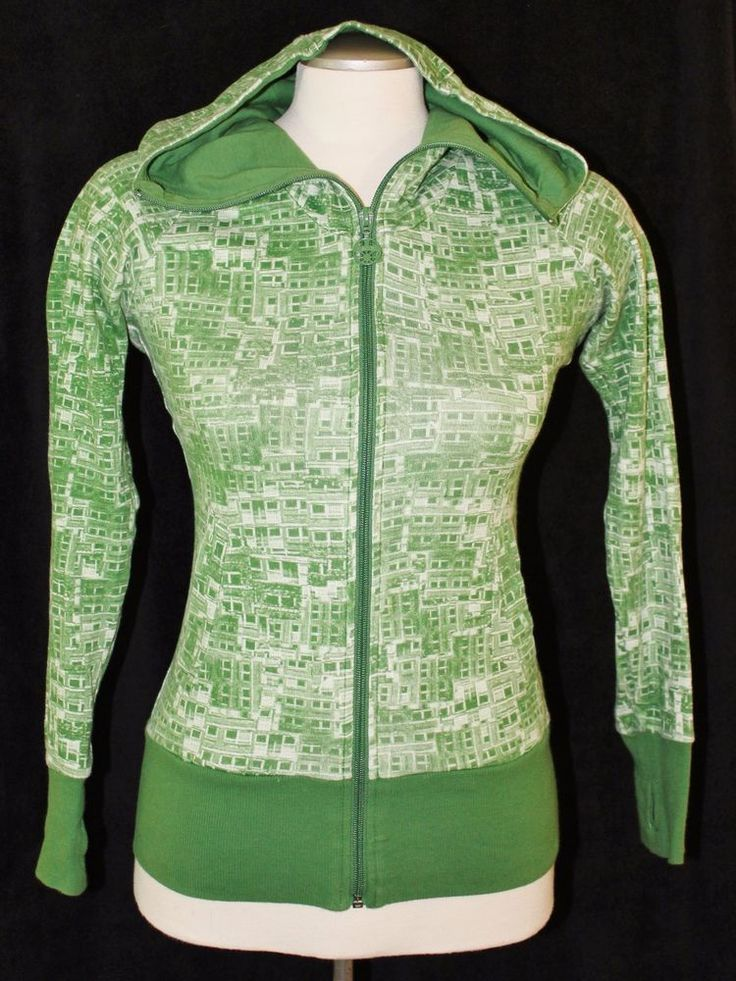 Bench Womens Sz M Hoodie Cotton Full Zip Embroidered Logo Green Geometric Print  #Bench #Hoodie
