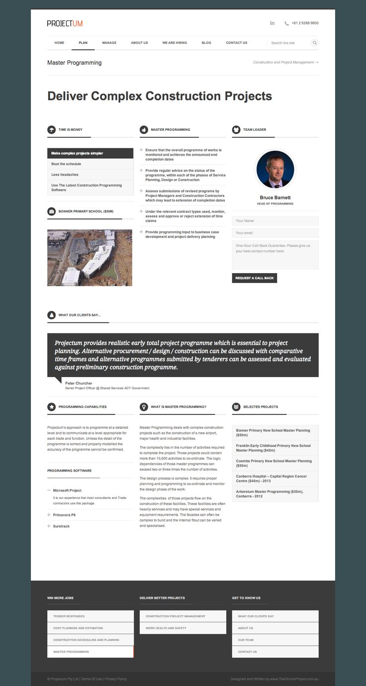 Master Programming - Projectum Civil Engineering Consultancy - Deliver Complex Construction Projects - Develop trust: Photo of team leader, the tools, the capabilities, the projects, the contact form, and what our clients think…