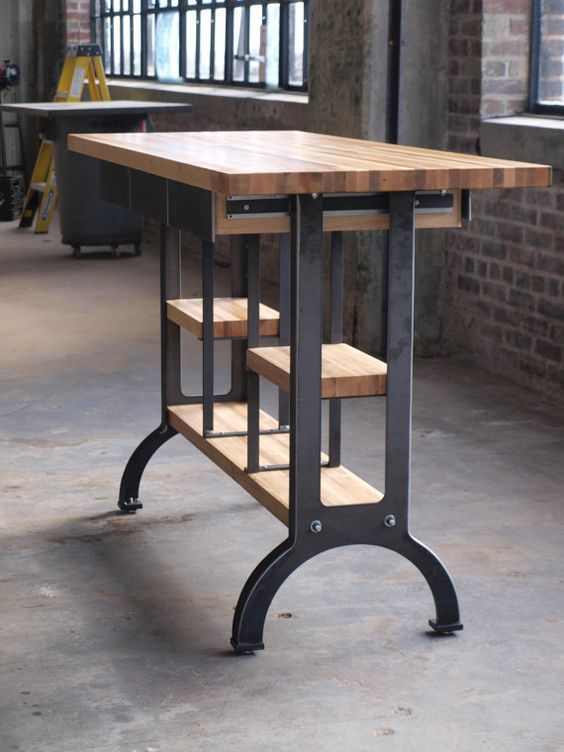 Maple Modern Industrial kitchen island metal by CamposIronWorks