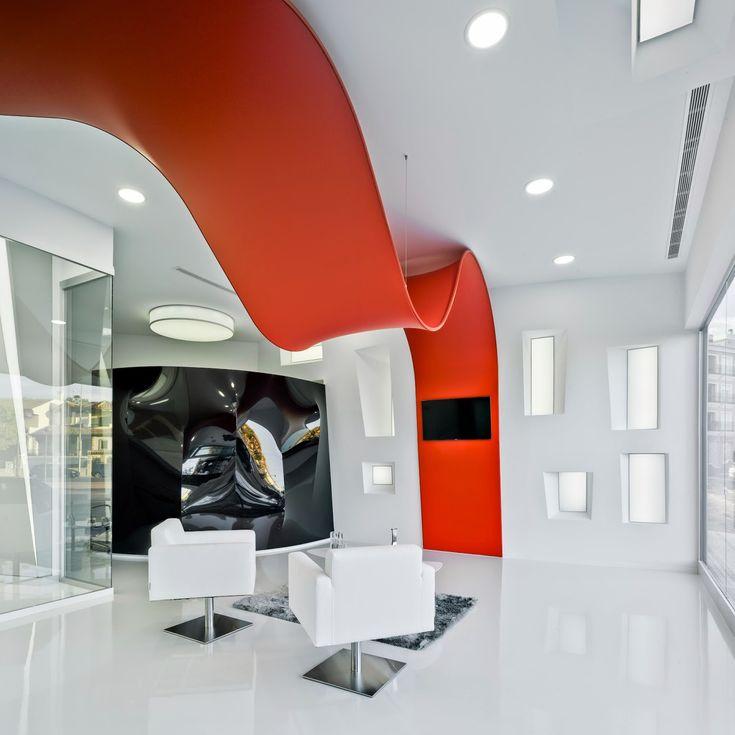 interiorismo corporativo. Diseño interior tienda Proplac con pladur Q4 y techo tensado Barrisol