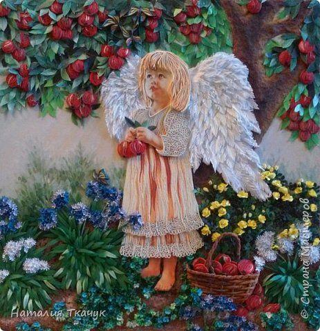 Картина панно рисунок День рождения Бумагопластика Квиллинг Папье-маше Ангелочек в яблоневом саду Бумага Бумажные полосы фото 1
