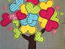 Stickdatei Doodle Baum mit Herzen 18x30 - 20x20