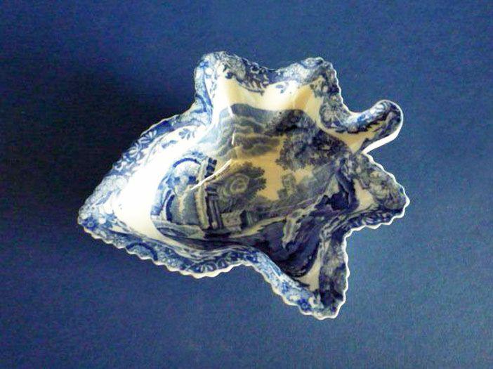 Copeland Spode Blue 'Italian' Leaf Shaped Pickle Dish c1900