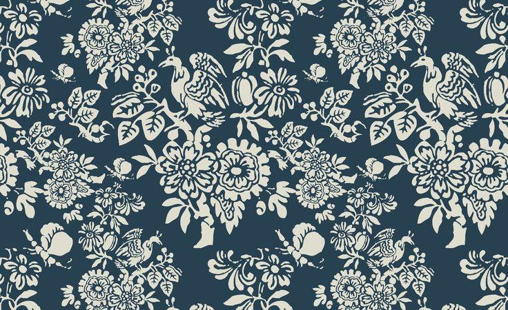 Peranakan - Prussian Blue textiles and wallpaper print