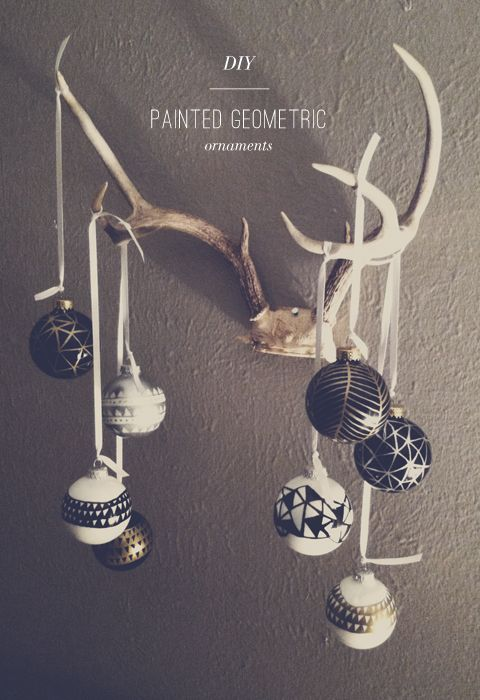diy / painted geometric ornaments - metallic sharpies are the best