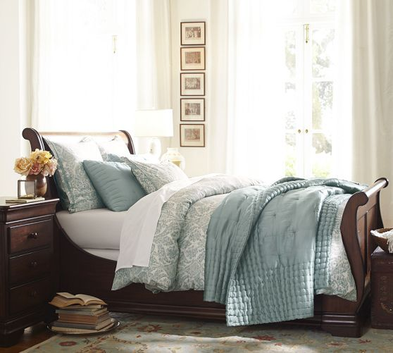Samantha Damask Organic Duvet Cover & Sham - Blue | Pottery Barn