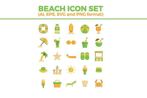 Beach Icon Set by ruslan_dezign on @creativemarket