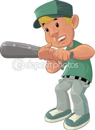 Chico de béisbol — Vector de stock. Personaje de dibujos animados.