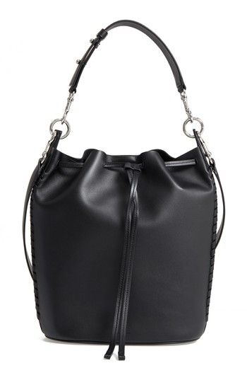 ALLSAINTS RAY LEA LEATHER BUCKET BAG - BLACK. #allsaints #bags #leather #bucket #