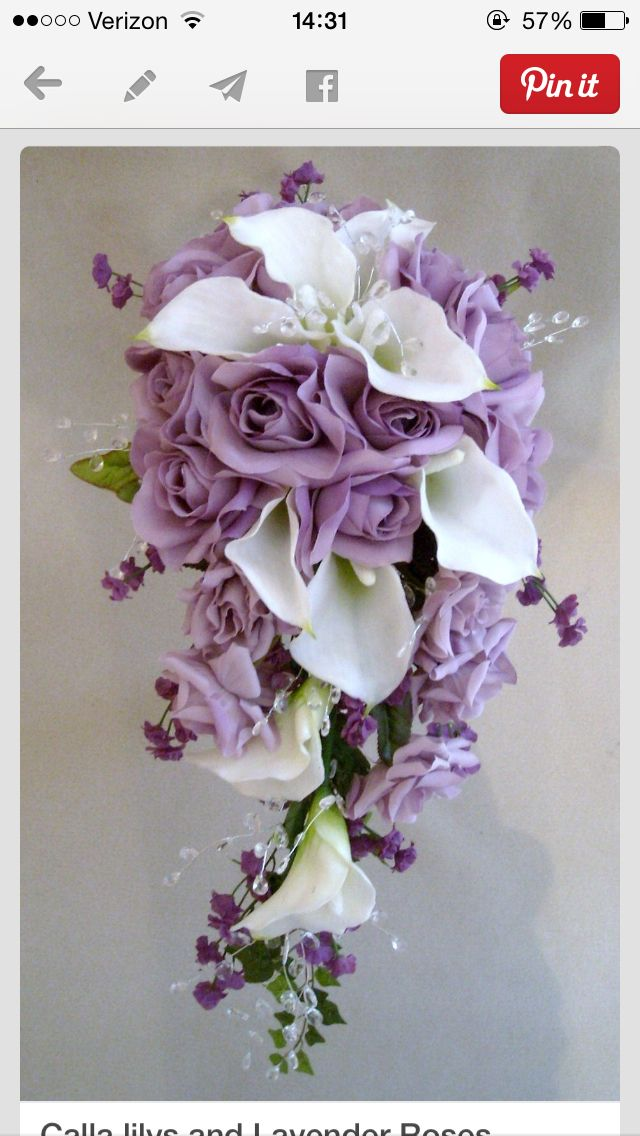 Bouquet of white calla lillies and lavender roses..... So beautiful.