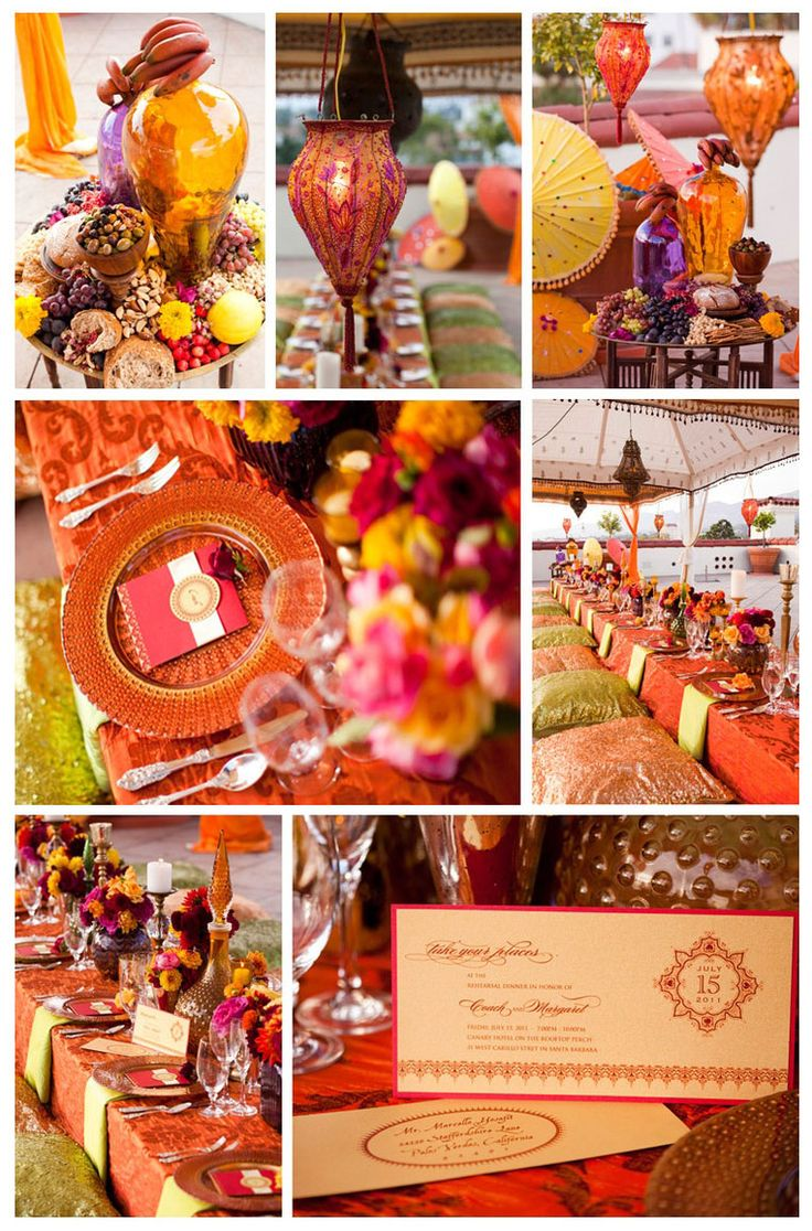 Truly an Arabian Nights affair. Colorful tents, bright jewel, colored drapes, the lanterns and candles gleaming all around, will transport you to the exotic deserts of Morocco.