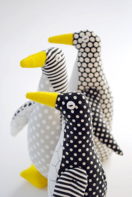Winter in New York City can be hard to love with its frozen sidewalks, dirty snowbanks, and bare trees. But this winter I'm counting on my new cold weather friend, the Purl Bee Penguin, to help me through! Its happy ovoid shape and graphic palette are sure to remind me that joy really does exist in January. Just ask an Emperor Penguin!  I used our new Penguin Fat Quarter Bundle, a lively mix  of black and white dots, stripes, and prints, to sew up  this quirky  little trio of penguins. I…