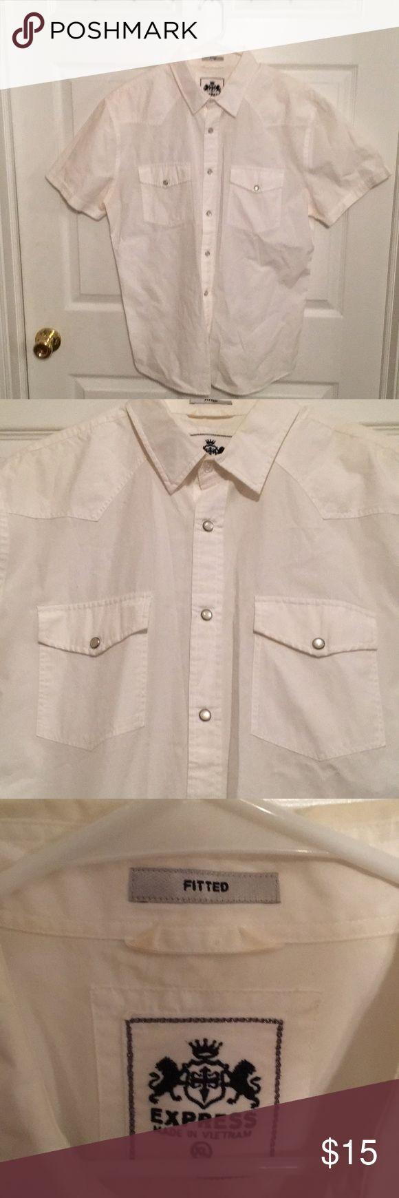 Mens Express White Short Sleeve Dress Shirt SZ XL Gently worn. Lil ring around collar; not visible when wearing Decorative buttons Express Shirts Dress Shirts