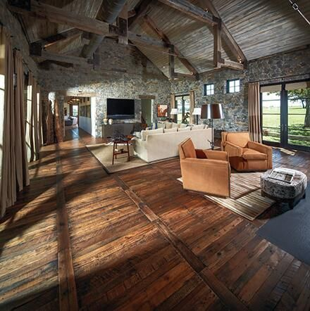 Pallet wood floor. Interesting layout of wood floor