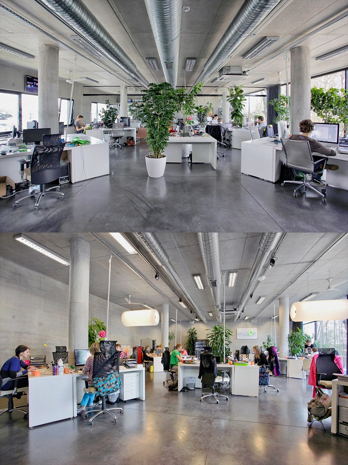 Open office plan coordinated with plants! :) cubicles.com