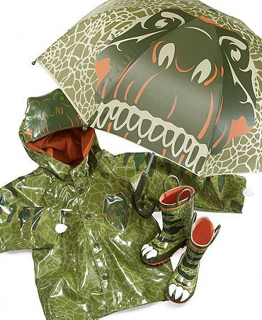 Dino rain gear! My son would crap for this!: Rain Boots, Gifts Ideas, Toddlers Boys, Kids Stuff, Kids Shoes, Dinosaurs Rain, Chiefs Kids, Rain Jackets, Boys Dinosaurs