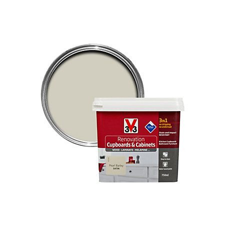 V33 Renovation Pearl Barley Smooth Kitchen Cupboard & Cabinet Paint 750 ml | Departments | DIY at B&Q
