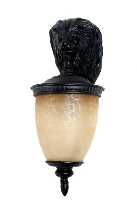 Oil Rubbed Bronze Outdoor Wall Sconce With Ambar Glass Shade Complemented Lion Hook Size D 9 X H 22 P 10 Type Of Lamp E27 40W MILKY FROSTED PING