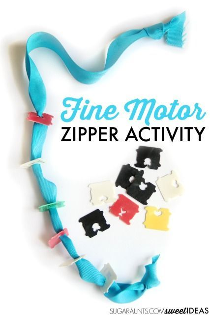 Teach kids how to use a zipper and Help kids learn how to zipper clothing using recycled materials that you probably have in your house. This activity works on all of the individual skills needed for the motor planning of zippering a zipper and uses just a ribbon and plastic bread ties.