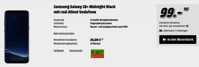 Samsung Galaxy S8 Plus mit Vertrag Vodafone real Allnet im D2-Netz und erhalte dafür eine Allnet-Gesprächsflat in alle Netze , SMS Allnet-Flatrate und eine  LTE Internet-Flatrate 3 GB mit bis zu 42,2 MBit/s , ab 3000MB Drosselung auf 64 kbit/sek mit 10,15 Euro rechnerische monatliche Grundgebühr der Vertrag wird im Vodafone-Netz bereitgestellt.   #Android #Smartphone #Samsung #GalaxyS8Plus