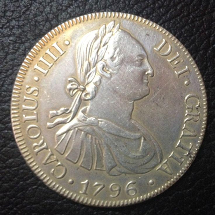 1796 (ПП) БОЛИВИЯ Руки Испания 8 Реалов-Карлос IV Копия Столбы