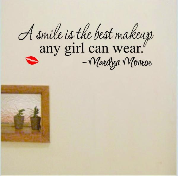 "Free Shipping Worldwide. Home Wall Decals Inspirational Quotes for Woman ""Smile Makeup Lips""$8.99Classification: For WallStyle: American StyleSpecification: Sin"