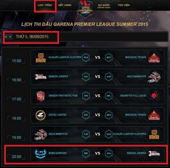 - Vào trang chủ GPL Mùa Hè 2015 - Ấn vào mục lịch thi đấu - Chọn ngày diễn ra sự kiện -> lịch thi đấu sẽ thay đổi theo ngày tương ứng. * Hình thức bán vé: - Mua trực tiếp tại VP Vietnam eSports, tầng trệt, 117 Nguyễn Du, P .Bến Thành, Q.1, TP. HCM.  - Vé được bán từ 20/07 đến hết ngày 31/07 (Từ 10:00 đến 17:00 hàng ngày)