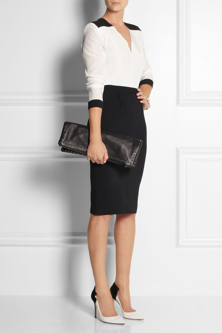 Roland Mouret | Inca crepe pencil skirt + Roland Mouret top + Gianvito Rossi shoes + Valentino clutch