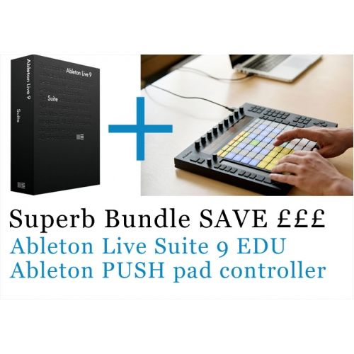Ableton Push PLUS Ableton Live 9 Suite EDU Bundle Price. Superb bundle price - £690.00. Education version is same as professional version. Offer open to students and teachers! http://www.softplanetgroup.com/music-software/ableton/ableton-push-live-9-suite-edu