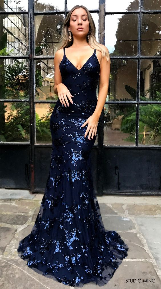 3249bbfad87 Sparkly Mermaid Sequins Navy Blue Long Prom Dress Sexy Prom Gowns on Luulla