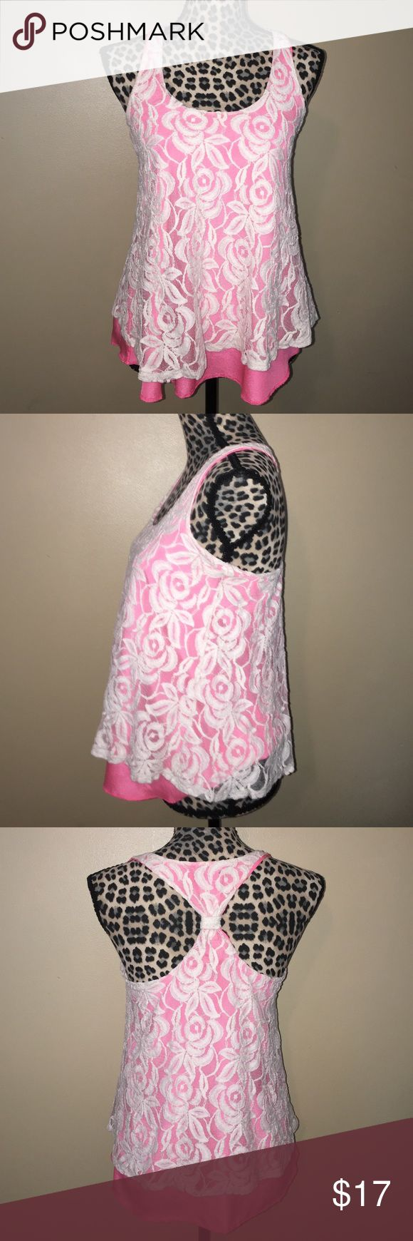 Lace Overlay Top Upper cute Rue 21 top, size m, in good condition Rue 21 Tops