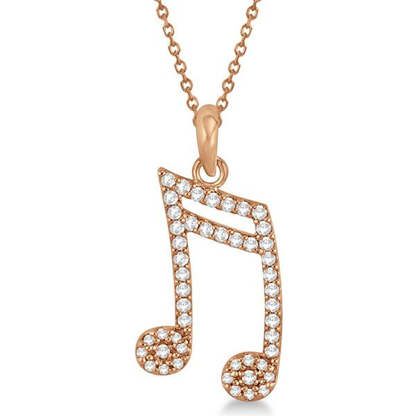 Allurez Sixteenth Music Note Pendant Diamond Necklace 14k Rose Gold... ($660) ❤ liked on Polyvore featuring jewelry, necklaces, bijoux, pink necklace, diamond necklaces, rose necklace, 14k gold necklace and charm necklace