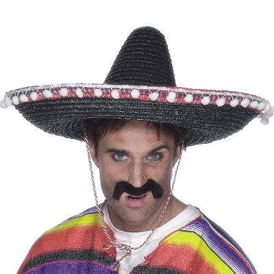 Zwarte sombrero de luxe. Luxe sombrero in de kleur zwart. De sombrero heeft witte balletjes aan de zijkant. Mooie grote mexicaanse hoed. Doorsnede van maar liefst 50 cm.